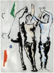 Marino Marini, Figure e cavallo, acquaforte acquatinta cm 72x56,5, 1977